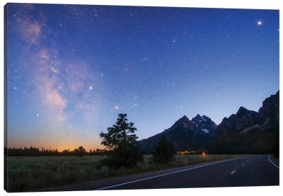 The Milky Way Appears In The Evening Twilight Above Grand Teton National Park, Wyoming, Usa. Canvas Art Print