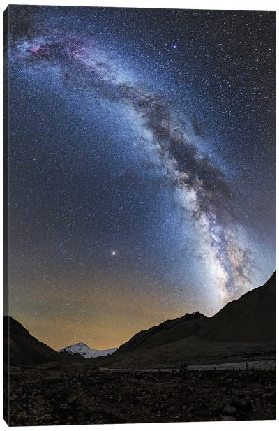 The Milky Way Shines Above Mount Everest In Tibet, China. Canvas Art Print