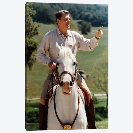 Photo Of President Ronald Reagan On Horseback Canvas Print #TRK335} by John Parrot Canvas Wall Art
