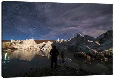 The Night Sky Above A Glacier In The Himalayas Of Tibet. Canvas Art Print