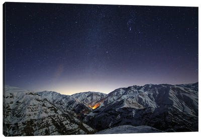 The Winter Milky Way Shines Above The Snow-Covered Alborz Mountain Range In Iran. Canvas Art Print