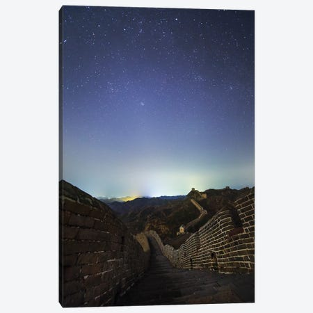 Winter Stars Shine Above The Great Wall In Jinshanling Region, Hebei, China. Canvas Print #TRK3368} by Jeff Dai Canvas Wall Art