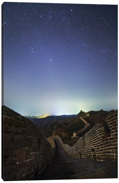 Winter Stars Shine Above The Great Wall In Jinshanling Region, Hebei, China. Canvas Art Print