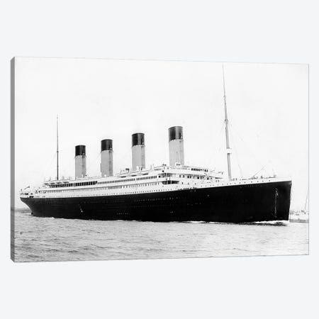 Photo Of RMS Titanic Departing Southampton Canvas Print #TRK336} by John Parrot Canvas Wall Art