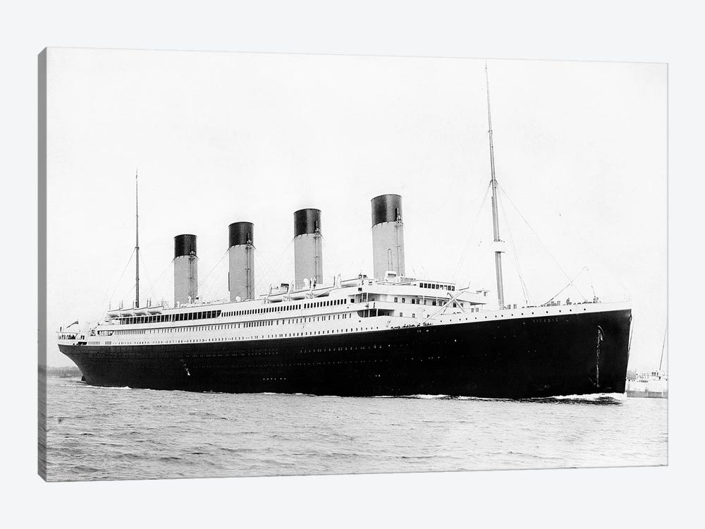 Photo Of RMS Titanic Departing Southampton by John Parrot 1-piece Canvas Artwork