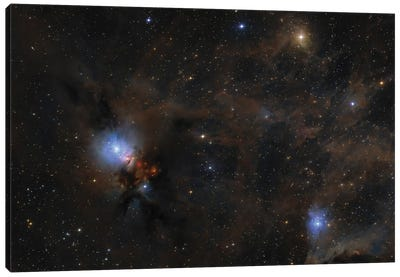 Dusty Nebulae And Clouds Of Stardust Drift Through This Deep Skyscape Of The Perseus Molecular Cloud. Canvas Art Print