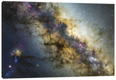 Milky Way With Visible Planets, Nebulae And Open Clusters. Canvas Art Print