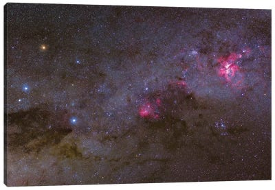 Widefield View Of The Crux Constellation And Nebulae In The Southern Milky Way Canvas Art Print