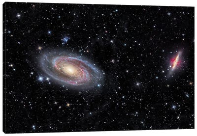 Galaxies Messier 81 And Messier 82 In The Constellation Ursa Major. Canvas Art Print