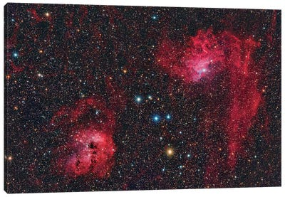 Ic 405, The Flaming Star Nebula In The Constellation Auriga. Canvas Art Print
