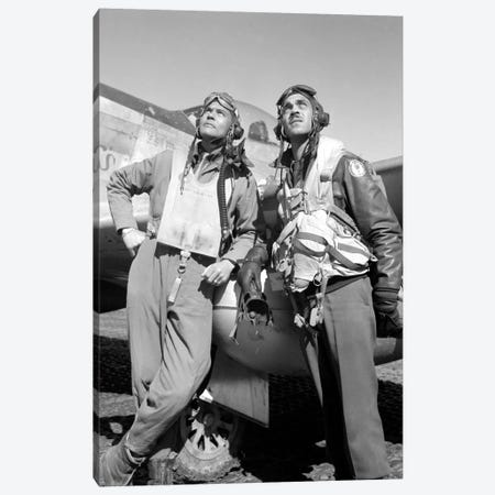 Photo Of Tuskegee Airmen Posing With A P-51D Aircraft Canvas Print #TRK339} by John Parrot Art Print