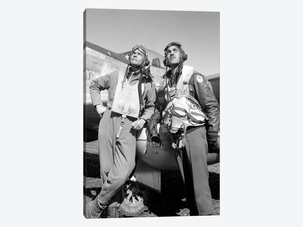 Photo Of Tuskegee Airmen Posing With A P-51D Aircraft by John Parrot 1-piece Canvas Print
