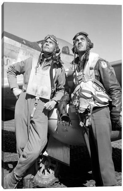Photo Of Tuskegee Airmen Posing With A P-51D Aircraft Canvas Art Print