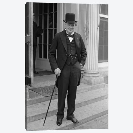 Photo Of Winston Churchill Canvas Print #TRK340} by John Parrot Canvas Artwork