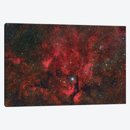 A Wide-Field View From The Propeller Nebula To The Crescent Nebula. Canvas Print #TRK3424} by Roberto Colombari Canvas Wall Art