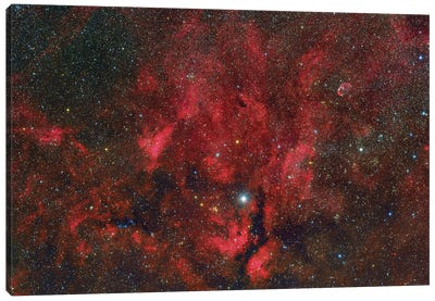 A Wide-Field View From The Propeller Nebula To The Crescent Nebula. Canvas Art Print