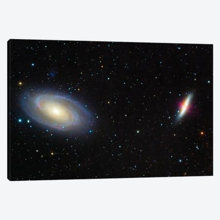 Messier 81, Bode'S Galaxy (Left) And Messier 82, The Cigar Galaxy (Right). Canvas Print #TRK3432} by Roberto Colombari Canvas Wall Art