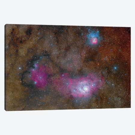 The Sagittarius Triplet Featuring The Lagoon Nebula, Trifid Nebula And Ngc 6559. Canvas Print #TRK3450} by Roberto Colombari Canvas Wall Art