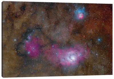 The Sagittarius Triplet Featuring The Lagoon Nebula, Trifid Nebula And Ngc 6559. Canvas Art Print