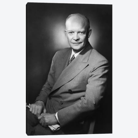 Presidential Portrait Of Dwight D. Eisenhower Canvas Print #TRK346} by John Parrot Canvas Art Print