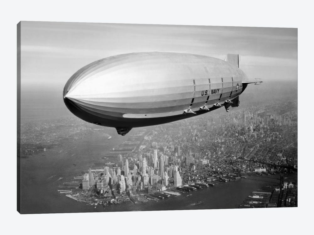 USS Macon Airship Flying Over New York City by John Parrot 1-piece Canvas Art