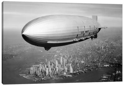 USS Macon Airship Flying Over New York City Canvas Art Print