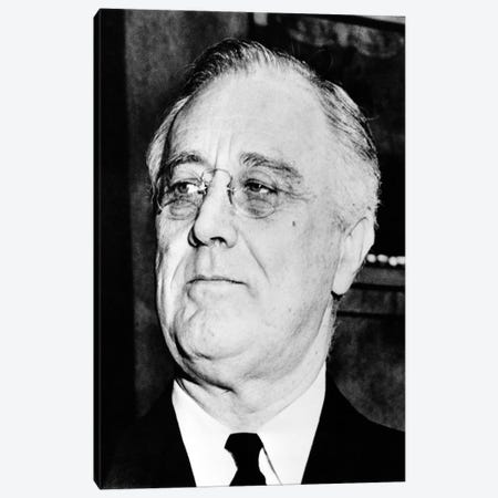 Vintage American History Photo Of President Franklin Delano Roosevelt Canvas Print #TRK349} by John Parrot Canvas Artwork