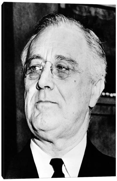 Vintage American History Photo Of President Franklin Delano Roosevelt Canvas Art Print