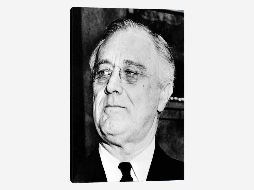 Vintage American History Photo Of President Franklin Delano Roosevelt by John Parrot 1-piece Canvas Wall Art