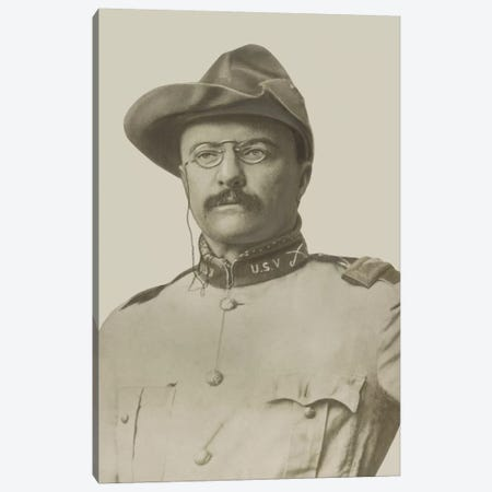 Vintage American History Print Of Colonel Theodore Roosevelt Canvas Print #TRK350} by John Parrot Art Print