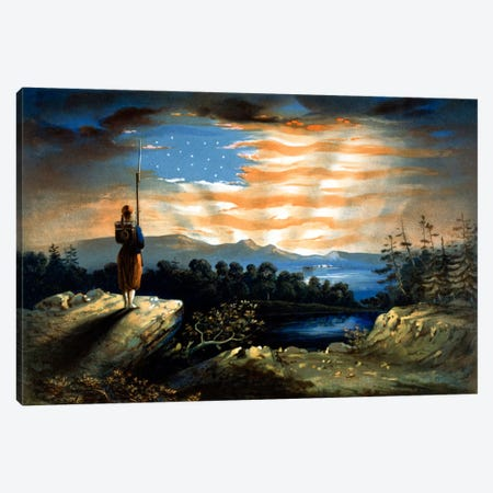 Vintage Civil War Painting Of A Lone Zouave Sentry Overlooking A Cliff Canvas Print #TRK352} by John Parrot Canvas Art Print
