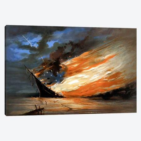 Vintage Civil War Painting Of A Warship Burning In A Calm Sea Canvas Print #TRK353} by John Parrot Art Print