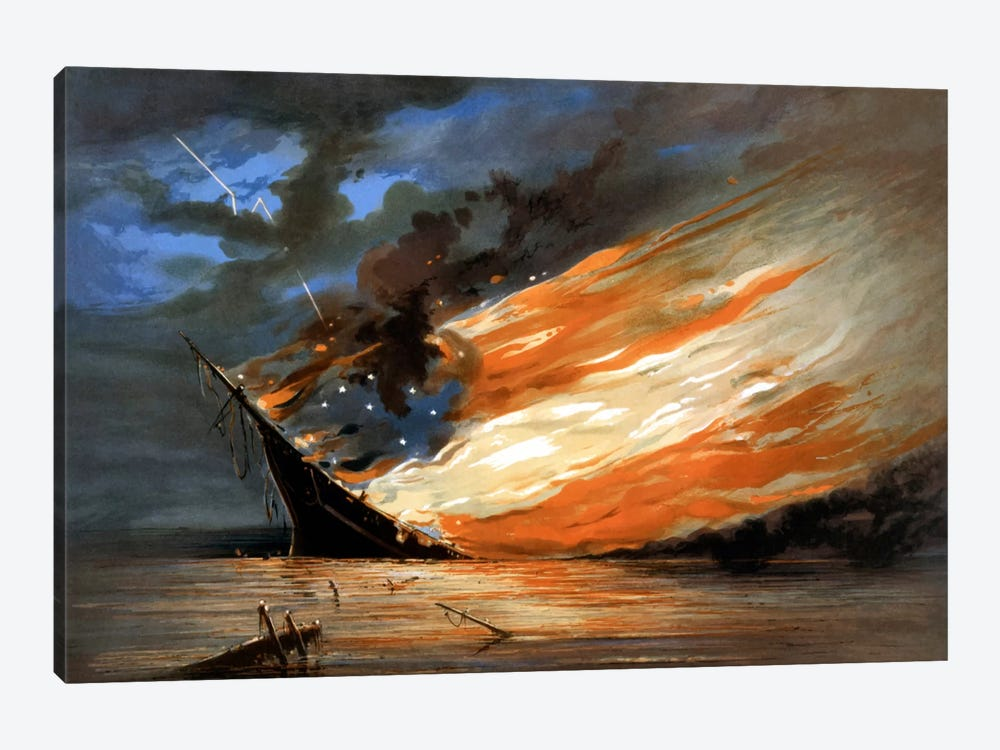 Vintage Civil War Painting Of A Warship Burning In A Calm Sea by John Parrot 1-piece Art Print