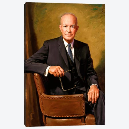 Vintage Painting Of President Dwight D. Eisenhower Seated In A Chair Canvas Print #TRK354} by John Parrot Canvas Art