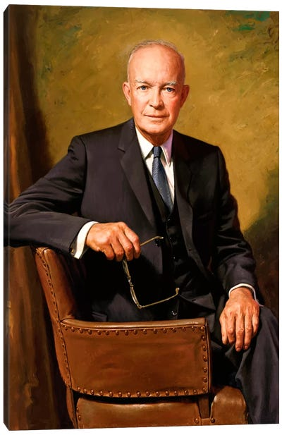 Vintage Painting Of President Dwight D. Eisenhower Seated In A Chair Canvas Art Print