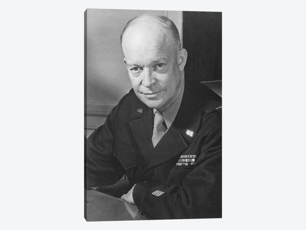Vintage WWII Photo Of General Dwight D. Eisenhower by John Parrot 1-piece Canvas Art Print