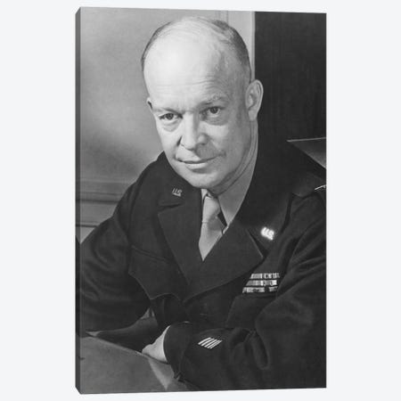 Vintage WWII Photo Of General Dwight D. Eisenhower Canvas Print #TRK359} by John Parrot Art Print