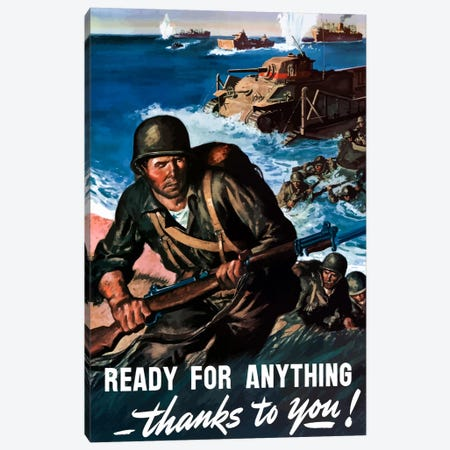 Ready For Anything Thanks To You Wartime Poster Canvas Print #TRK35} by John Parrot Canvas Art
