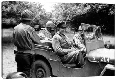 Vintage WWII Photo Of General Dwight D. Eisenhower Sitting In A Jeep Canvas Art Print