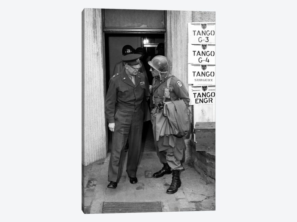 Vintage WWII Photo Of General Eisenhower And Ridgway by John Parrot 1-piece Canvas Wall Art