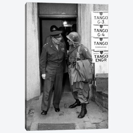 Vintage WWII Photo Of General Eisenhower And Ridgway Canvas Print #TRK361} by John Parrot Canvas Wall Art