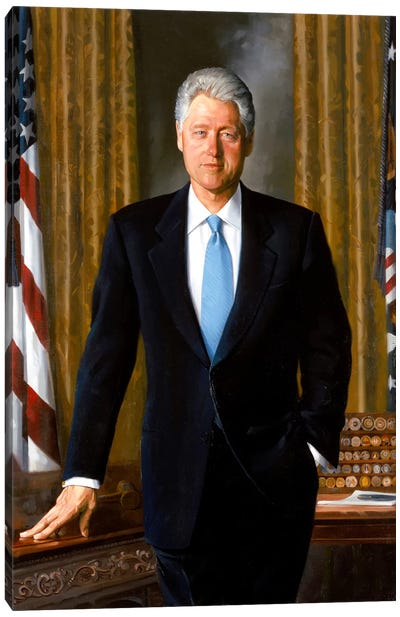 White House Painting Of President Bill Clinton Canvas Art Print