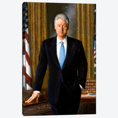 White House Painting Of President Bill Clinton Canvas Print #TRK363} by John Parrot Canvas Artwork