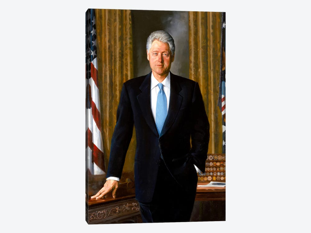White House Painting Of President Bill Clinton by John Parrot 1-piece Canvas Artwork