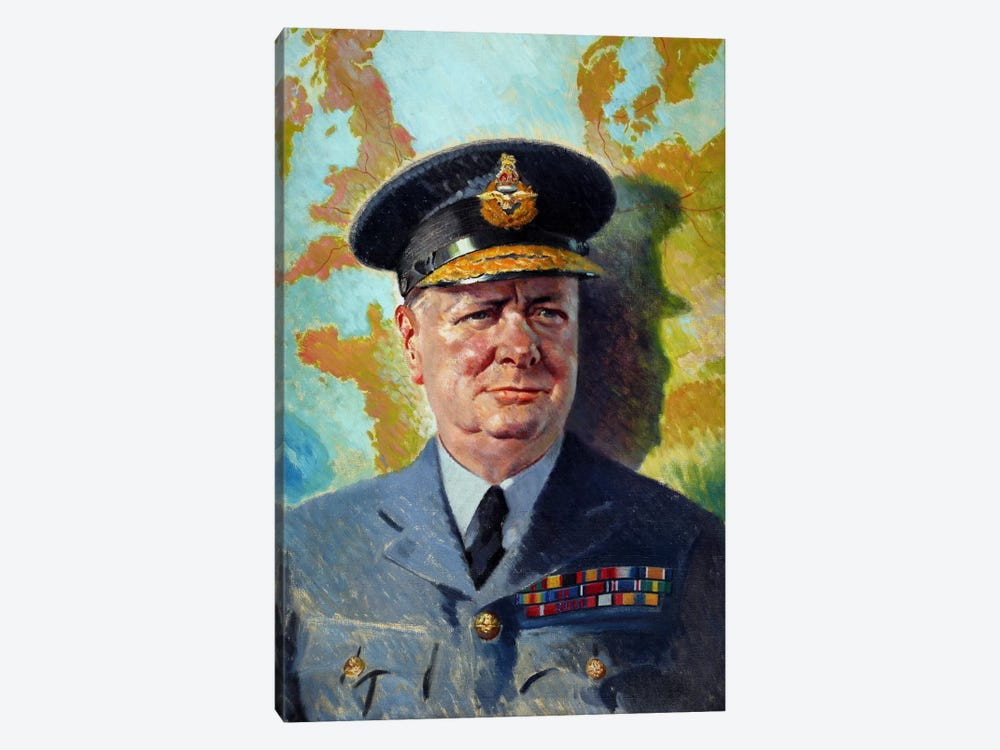 WWII Painting Of Winston Churchill Wearing His RAF Uniform by John Parrot 1-piece Canvas Print