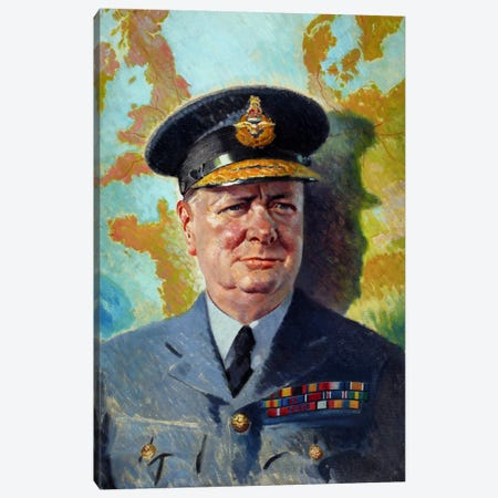 WWII Painting Of Winston Churchill Wearing His RAF Uniform Canvas Print #TRK364} by John Parrot Art Print