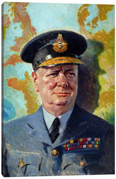 WWII Painting Of Winston Churchill Wearing His RAF Uniform Canvas Art Print