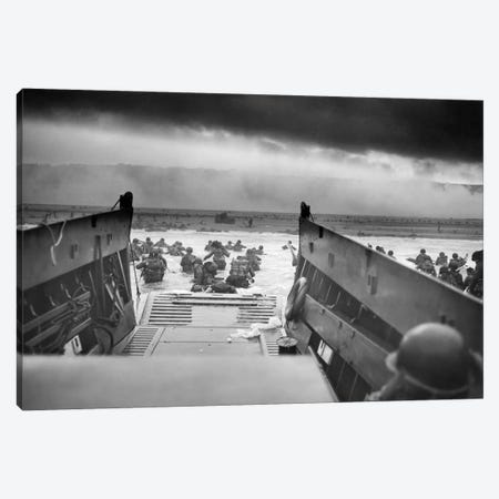 WWII Photo Of American Troops Approaching Omaha Beach Canvas Print #TRK365} by John Parrot Canvas Art Print