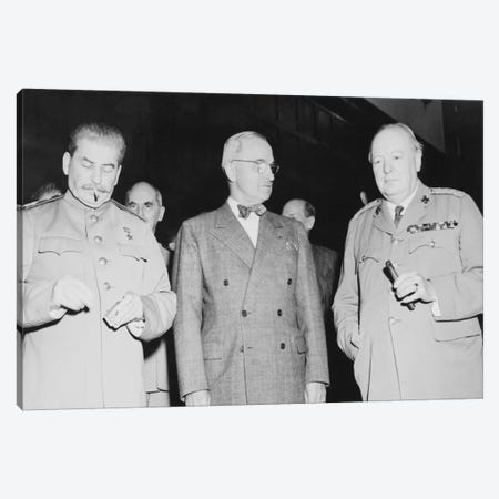 WWII Photo Of Joseph Stalin, Harry Truman, And Winston Churchill Canvas Print #TRK367} by John Parrot Canvas Art Print