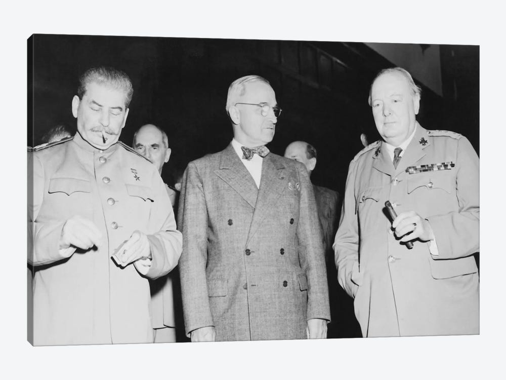 WWII Photo Of Joseph Stalin, Harry Truman, And Winston Churchill by John Parrot 1-piece Canvas Wall Art